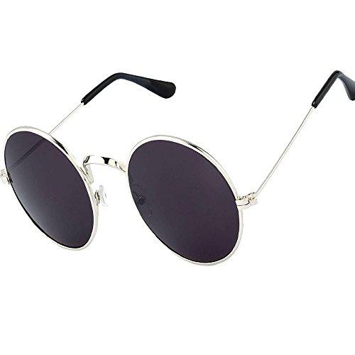 Y&S Wayfarer Boy's Girl's Men's & Women's Aviator Sunglasses Combo (Silver-black-round-single) with Sunglass cases
