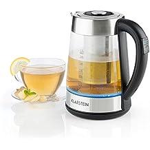 Klarstein Ostfries Hervidor de agua 2 en 1 • Tetera eléctrica • Colador de té • 1,7 litros • 2200W de potencia •Preparación bebidas aromáticas calientes • Temperatura regulable • Colador • Cool touch • Iluminación LED • Acero inoxidable • Cristal