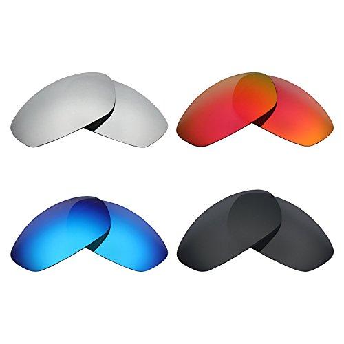MRY 4Paar Polarisierte Ersatz Gläser für Oakley Whisker sunglasses-stealth schwarz/fire rot/ice blau/silber titan