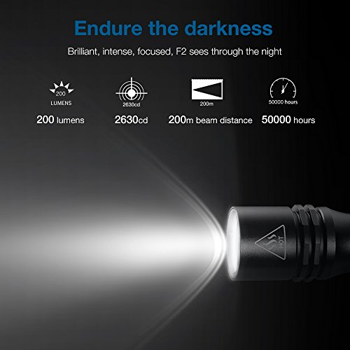 Zanflare F2 LED Linterna  IP68 resistente al agua  Cree XP G3 200 Lumen luz de antorcha de aleación de aluminio  4 modos de luz baja / Media / Alta / Strobe para camping  Ciclismo  Emergencia (Cool White 6500 7000K)
