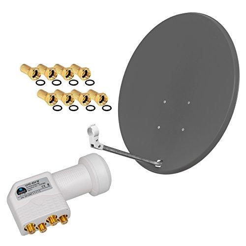 HD Digital SAT Anlage 80cm Spiegel Schüssel Anthrazit + Quad LNB 4 Teilnehmer zum Empfang von DVB-S/S2 Full HD 3D Ultra HD (UHD) Signale + Stecker Gratis dazu im SET