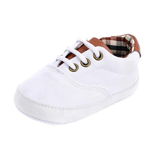 feiXIANG Neugeborenes Kleinkind Schuhe niedlich Sneaker Prewalker Krippeschuhe weiche Rutschfeste Segeltuchschuhe für Mädchen Junge (Weiß,11)