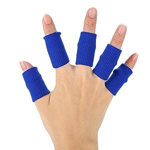 10 Stücke Finger Wraps, Stretchy Flexible Finger Ärmel Unterstützung Fingerschutz Sport Hilfe Arthritis Band(Blau)