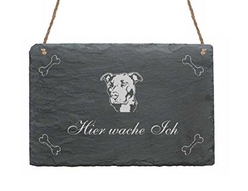 Schiefertafel « PITBULL - HIER WACHE ICH » Schild mit Hunde Motiv - Dekoschild Türschild Garten Terrasse Haustür Eingang Tor Tür - American Pit Bull Terrier -