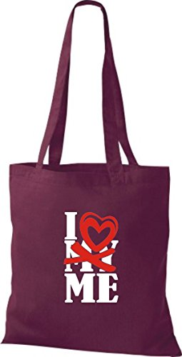 ShirtInStyle Shopper Valentinstag I Love ME weinrot