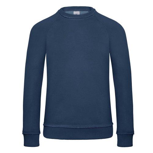 B&C Denim Herren Raglan Sweatshirt Invincible, Rundhalsausschnitt