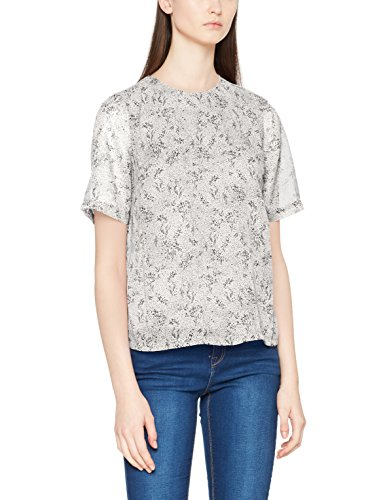 PIECES Damen T-Shirt Pcmabel 2/4 Sleeve Top, Mehrfarbig (Cloud Dancer AOP: Cloud Dancer With Print Black), 42 (Herstellergröße: XL) (Top Safari Print)