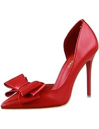 Escarpins avec Nœud Chaussures Pointues à Talons Hauts Femme,Overdose Été  Sexy Sandales Cuir Mariage ad2c6044a92b