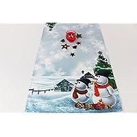 Kamaca Serie Frosty Snowman Hochwertiges Druck-Motiv - EIN Schmuckstück zu Winter Weihnachten (Tischläufer 40x140 cm)