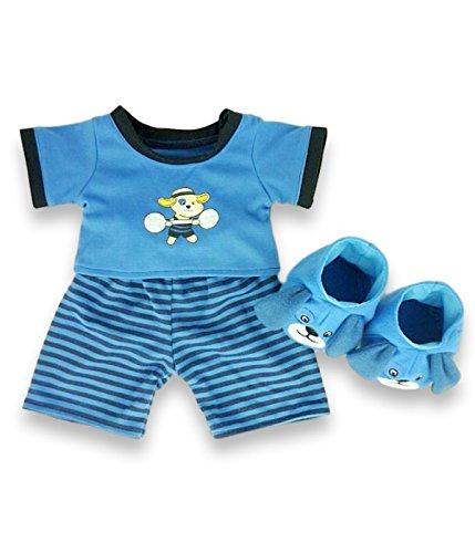 baue-dein-bears-kleiderschrank-15-zoll-kleider-passen-bj-bar-hundeschlafanzug-mit-hausschuhe-blau