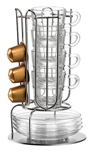 Leonardo Senso Espressotassen-Set mit Ständer, 4 Tassen und 4 Untertassen, 9-teiliges Set, Klarglas und Metall, 028248