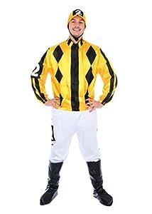 "Bristol Novelty- Jockey Disfraz, Color blanco, amarillo, negro, Standard Chest 36""-42"" (AF128STD)"