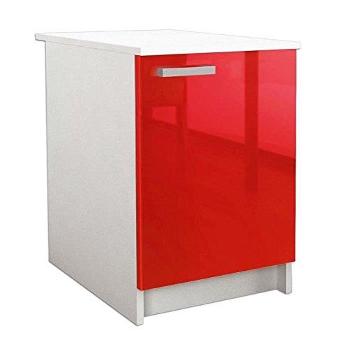 START Caisson bas de cuisine 60 cm avec plan de travail inclus - Rouge haute brillance