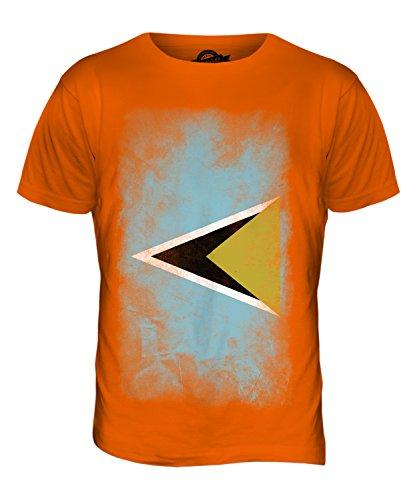 CandyMix St. Lucia Verblichen Flagge Herren T Shirt Orange