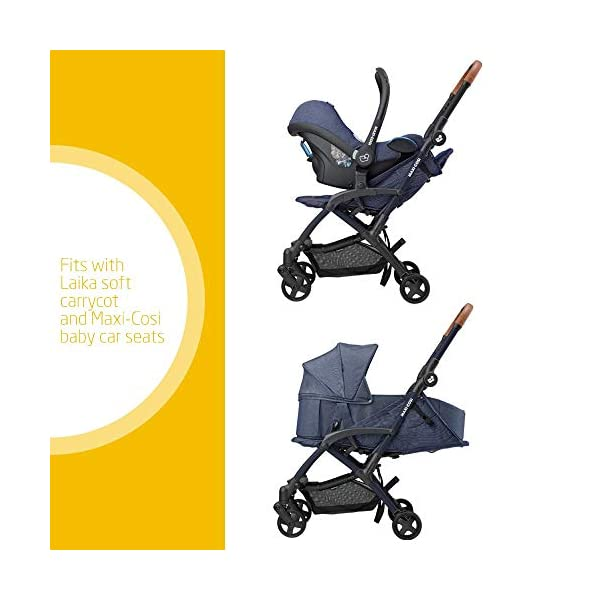 Maxi Cosi Laika 2 Baby Pushchair, Ultra Compact and Lightweight Stroller from Birth, Easy Fold, 0 Months-3.5 Years, 0-15 kg, Sparkling Blue Maxi-Cosi Urban stroller, suitable from birth to 15 kg (birth to 3.5 years) Remove the seat and transform into a pram by attaching our Laika Soft Carrycot or add any Maxi-Cosi baby car seat for a full from-birth mobility solution (sold separately) One-hand fold to easily fold stroller using only one hand 2