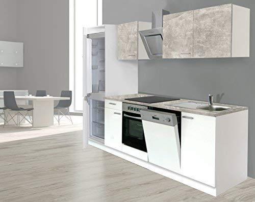 respekta Einbau Küche Küchenzeile Küchenblock 280 cm weiss Beton Optik, inkl. Softclose Cerankochfeld Geschirrspülmaschine, Kühl-/Gefrierkombination 178 cm