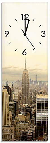 Artland Qualitätsuhren I Funk Wanduhr Designer Uhr Glas Funkuhr Größe: 20 x 60 cm Skyline Manhattan - New York H8HD Sepia