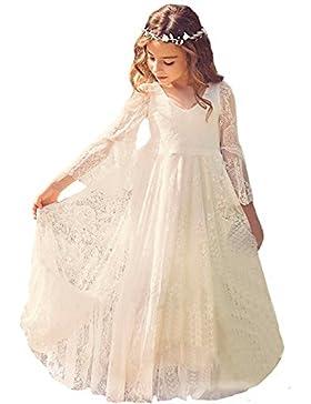 WOW Factors® Prinzessin Kleider Mädchen Spitze Blumenmädchenkleider Langarm