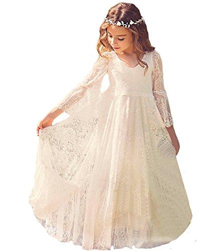WOW Factors Mädchen Kleidung Baby Kleidung Hochzeitskleid Kinder Prinzessin Kostüm, Elfenbein,...