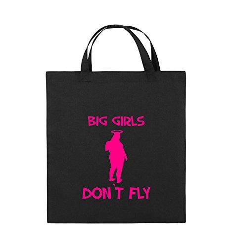Comedy Bags - BIG GIRLS DON'T FLY - Jutebeutel - kurze Henkel - 38x42cm - Farbe: Schwarz / Pink Schwarz / Pink