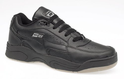 Dek Mens Boys Sancho Fuller-Fitting lace-up Leather Trainers. Black Or White, Sizes 6-14 UK