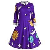 TWIFER Mode Frauen Sonne und Mond Sterne Drucken Umlegekragen Botton Langarm Flare Vintage Kleid