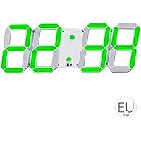 LED Skeleton Hohlwand- Wecker Multi-Funktions-Timer 24/12 Stunden-Anzeige elektronische Digitaluhr mit Fernbedienung Mengonee