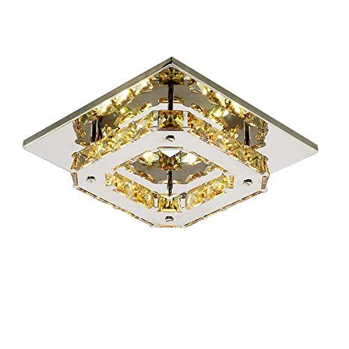 LED Cristal Plafond lampe intérieur luminaire Montage du flux Style mini 90-240V (Amber, Blanc)