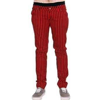 Jist - Jeans Cigarette Pour Homme Rayures Rouge Noir Rock Punk Rétro 56 58 60 62 64 - Rouge et Noir, 28W x Regular