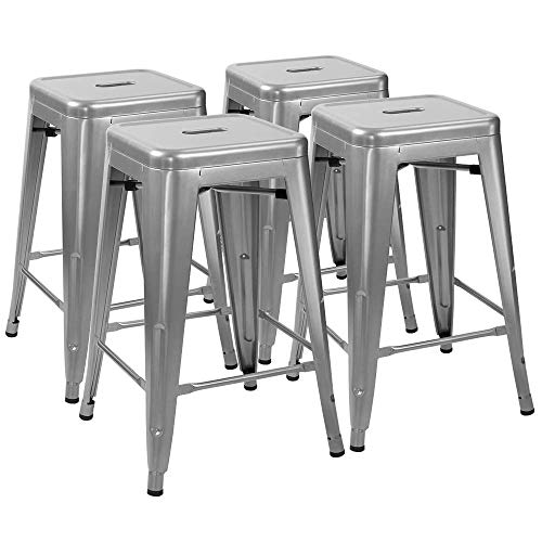 FUBON 24 Zoll Metal Bar Stools High Backless Indoor-Outdoor-Counter Height Stackable Stools Set of 4-Silber