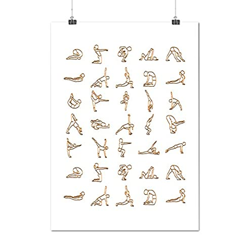 Yoga Posture Manual Working Out Matte/Glossy Poster A2 (60cm x 42cm)   Wellcoda