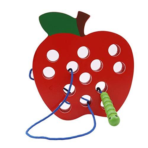 Vektenxi Premium-Qualität Red Worm Essen Apple Threading Spielzeug Early Learning Kinder Kognitionsspielzeug (Holz-threading)