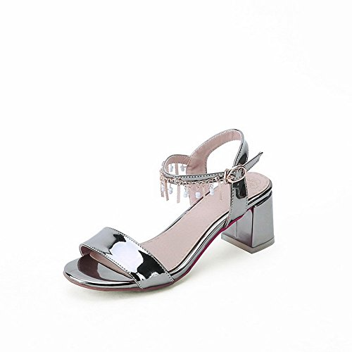 Adee Mesdames à franges kitten-heels polyuréthane Sandales Argent