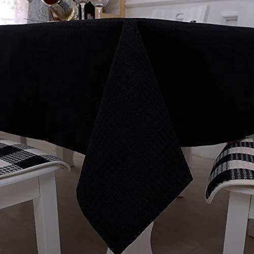 Tischdecke Schwarz Einfarbig Einfach Baumwolle Und Leinen Konferenztischdecke Hotel Western RestaurantKaffeehausDekoration Waschbar Anti-Falten Tischdecke 140 * 220 cm