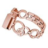 Fitbit Charge 3 Watch Band, Sansee Sansee Stainless Steel Bracelet Smart Watch Replacement Band Strap For Fitbit Charge 3 (Rose Gold)
