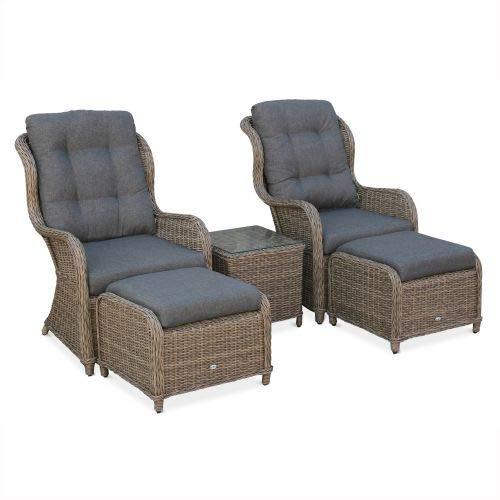 Alice's Garden Lot de 2 fauteuils Relax en résine tressée Arrondie avec Repose Pieds et Table Basse - Barletta Naturel - Aspect rotin, Coussins Gris Anthracite, Structure Aluminium