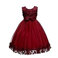 bc994b354b2c Wolfteeth Fiore Ragazze Abito Maniche Principessa Compleanno Festa  Matrimonio Sera Vestito(Vino Rosso