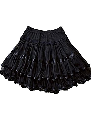 Yummy Bee Skirt Plus Size Swing Retro Rockabilly Vintage 50s Long Flared Skater Burlesque (Blk, 12)