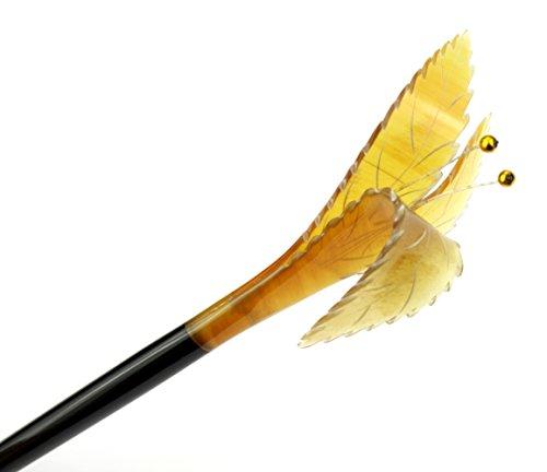 Pic à cheveux en véritable corne - Corne noire et corne blonde - Fleur