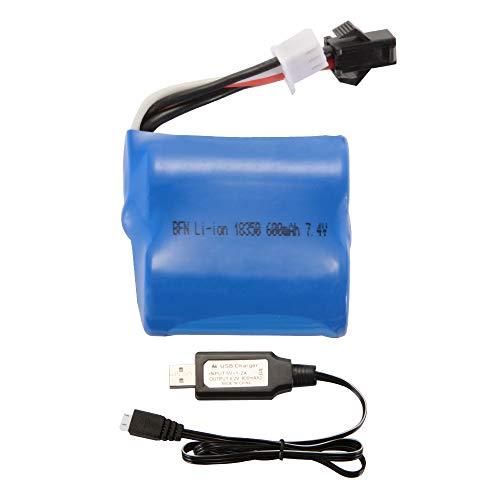 Skytech-batterie (Kreema 7.4V 600mAh Li-Ion 18350 Batterie + USB-Ladegerät Kabel für Skytech H100 H102 H106 Syma Q2 Q3 RC Boot Auto Spielzeug)