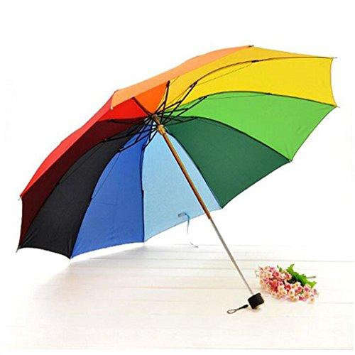 GTWP GT Regenschirm Manual Mode 3 Folding Umbrella Rainbow Sonnenschirm Sonnenschirm kreative Stockschirm Robuste winddicht Anti-UV-Sonnenschutz Dach