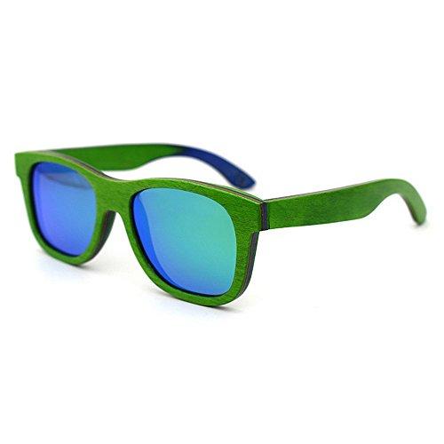 Yiph-Sunglass Sonnenbrillen Mode Bunte Holz Retro-Stil Handcraft umrandeten Sonnenbrillen farbige Linse UV400 Schutz für Unisex-Erwachsene (Farbe : Grün)