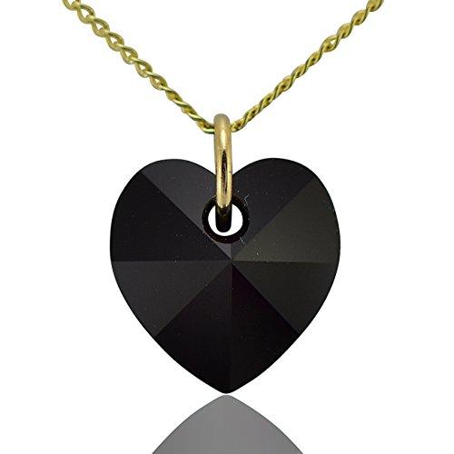 Collana con ciondolo a forma di cuore oro massiccio 9e jet nero cristallo swarovski