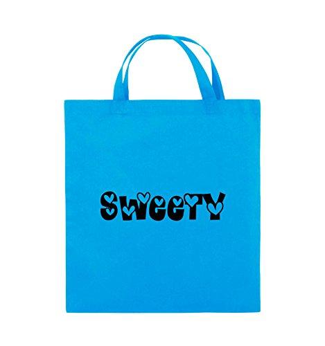 Comedy Bags - Sweety - HERZEN - Jutebeutel - kurze Henkel - 38x42cm - Farbe: Schwarz / Silber Hellblau / Schwarz