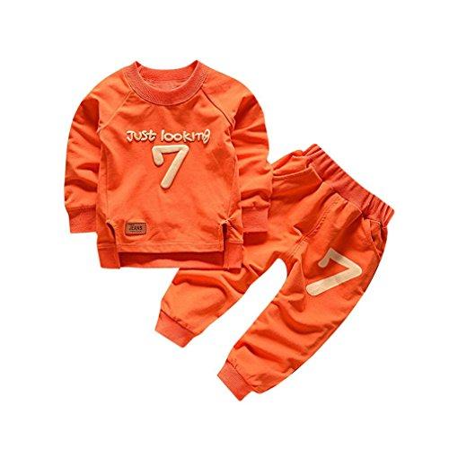 Bekleidung Longra Baby Kinderkleidung Anzüge für Jungen Mädchen Brief Langarm Shirt Oberseiten + Hosen-Ausstattungen Baby 2018 Sweatshirt Babykleidung Set (0-4Jahre) (110CM 3Jahre, Orange)