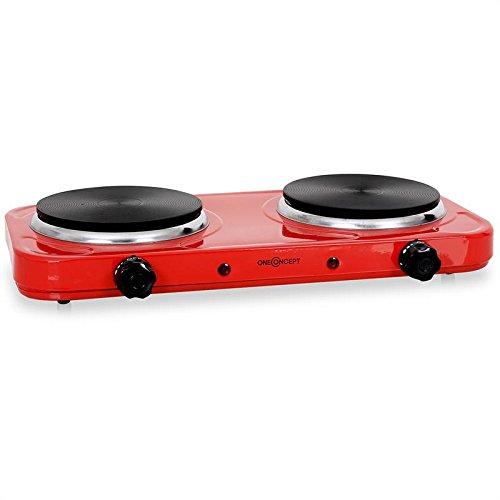 oneConcept piano di cottura portatile 2 fornelli piastra elettrica (2000 Watt, diametro 15 CM, metallo) rosso
