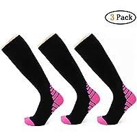 Zhongke Calcetines de Compresión de 3 Pares Medias Evitan Coágulos de Sangre para Hombres y Mujeres para Atletismo en Funcionamiento Enfermeras de Esquí