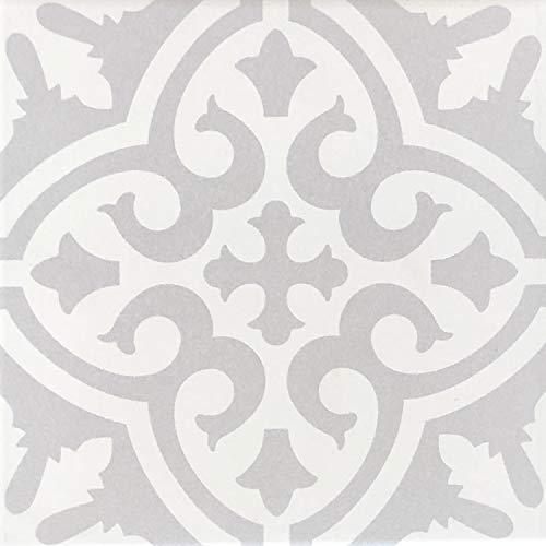 Mediterrane Keramik-Fliesen Daris 20 x 20 cm 1 qm glasiertes Feinsteinzeug in Zementoptik | Marokkanische Bodenfliesen & Wandfliesen | Schöne Dekoration im Bad & Küchenrückwand Küche Flur | FL7032 (Bunte Bodenfliesen)