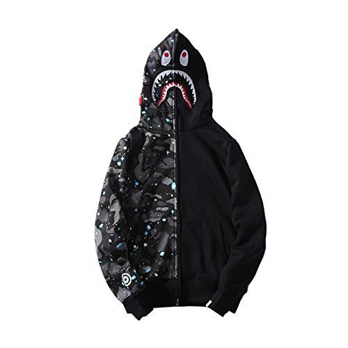 Zip Kapuzenpullover Hooded Kapuzenjacke Sweatshirt Hoodies mit Hai, Stern XXL ()