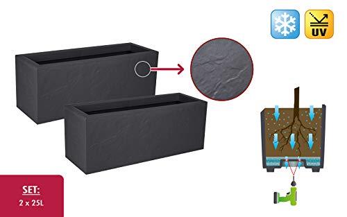 Kreher 2 Stück XL Design Pflanzkasten, Terrassentrenner, rechteckig der Serie Stone in Anthrazit, aus robustem Kunststoff (2 x 25 Liter)
